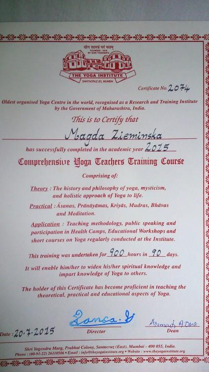 certyfikat Magda Ziemińska