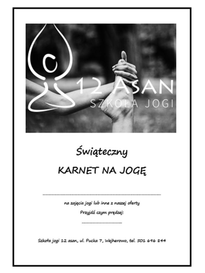 świąteczny karnet na jogę